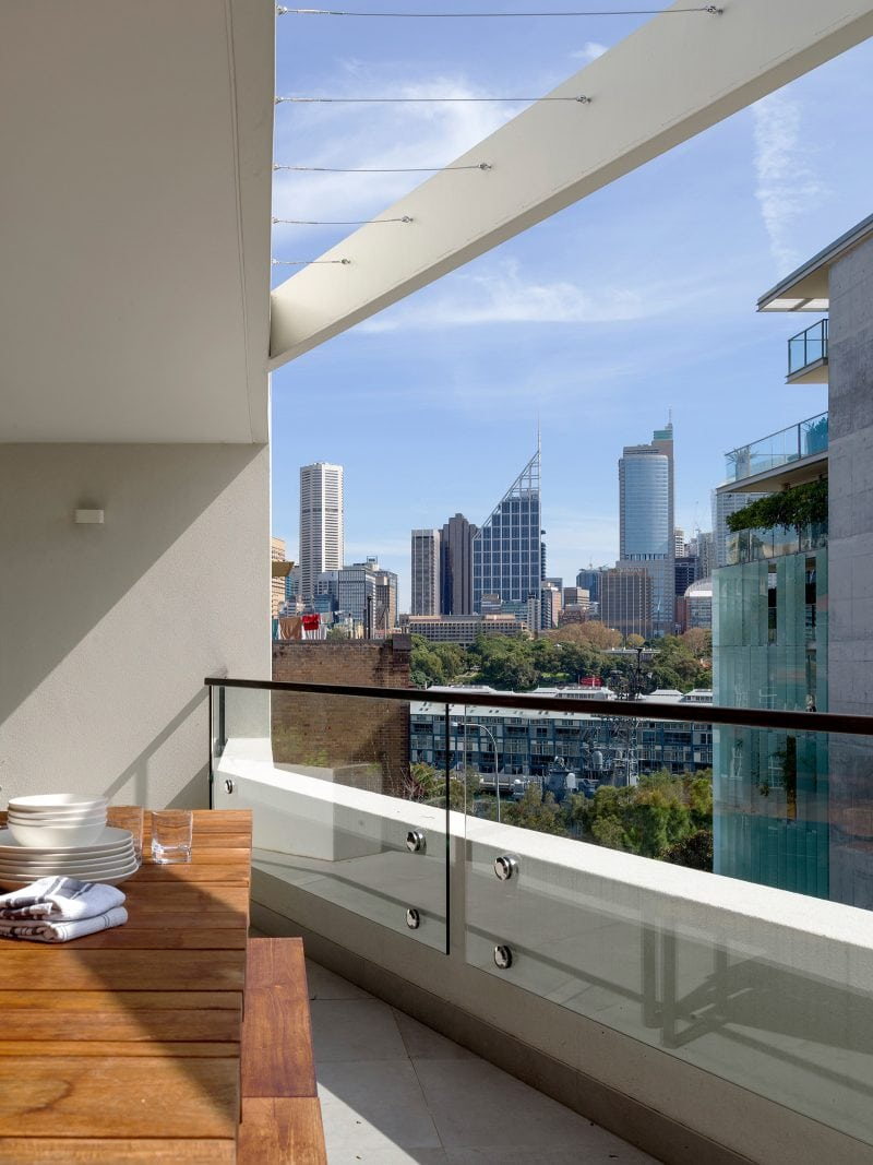 Balcony with Sydney city views