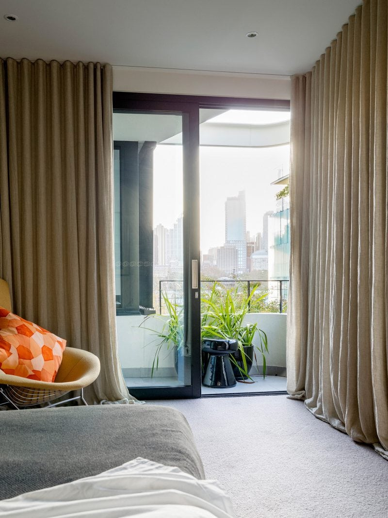 Master bedroom with Sydney city views Steel sliding doors