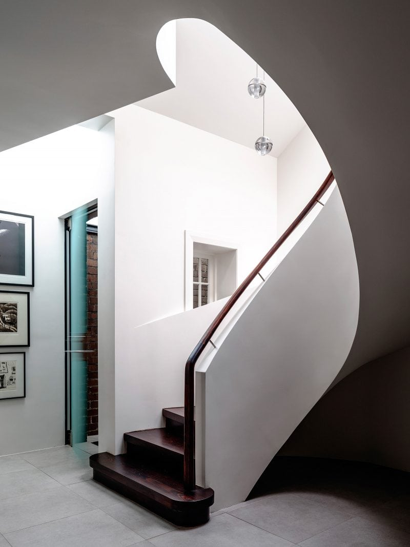 White self-supporting spiral staircase