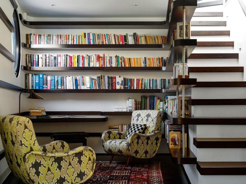 Living room, Art filled, Integrated Bookshelf, Dark Timber, Library Stair