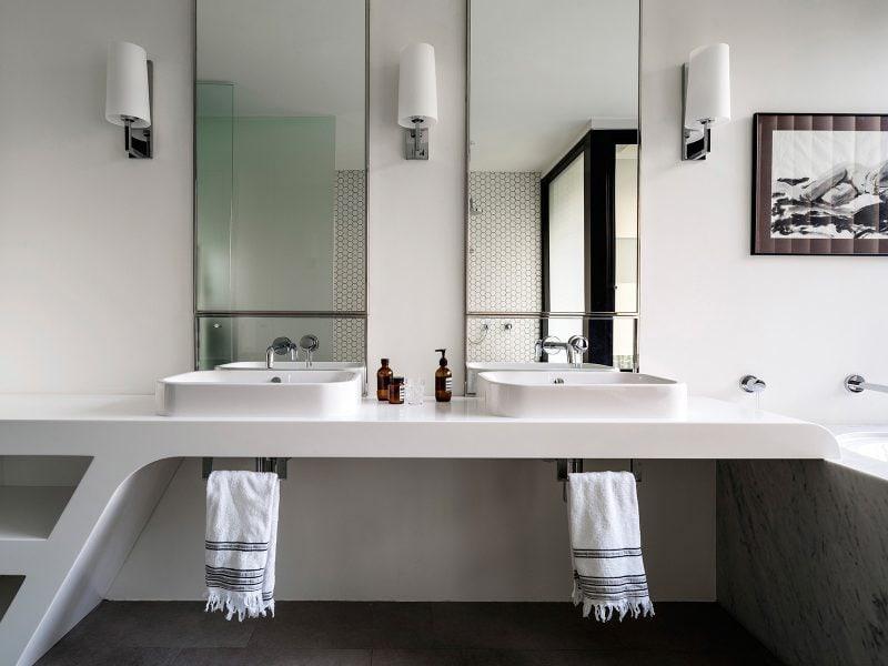 Angular Corian Benchtop, Carara, Marble bath