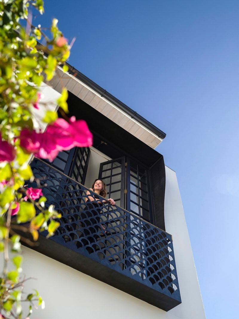 Luigi Rosselli Architects | Bougainvillea Row House | Woollahra terrace house, Juliet balcony with fish scale balustrade, timber french doors