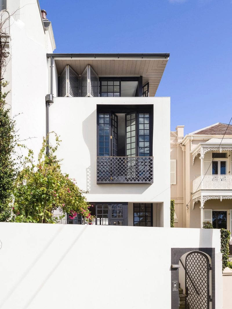 Luigi Rosselli Architects | Bougainvillea Row House | adapted Woollahra terrace house, juliet balcony, french doors, fish scale balustrade, bi-fold shutters