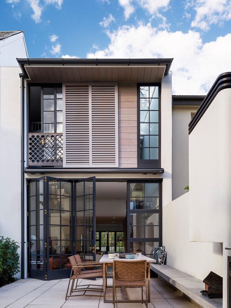 Luigi Rosselli Architects | Woollahra terrace house, timber bi-fold doors, internal courtyard , fish scale balustrade, timber shutters