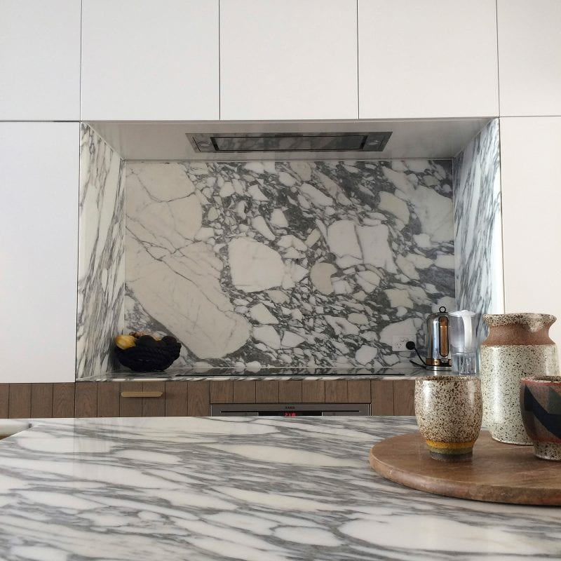 Luigi Rosselli Architects | kitchen with carrara marble benchtop and splashback