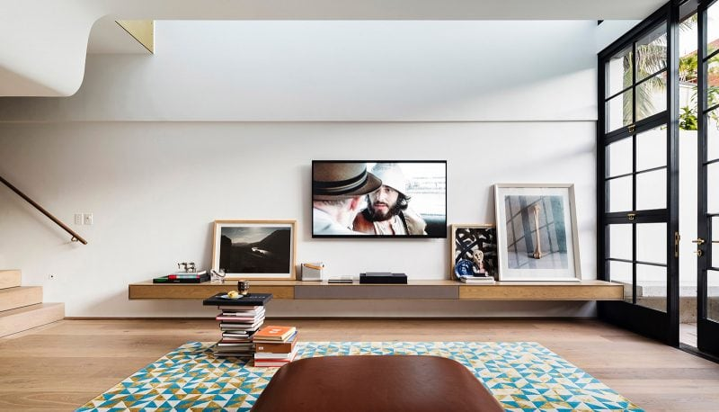 sculpted ceiling living room timber audio-visual unit