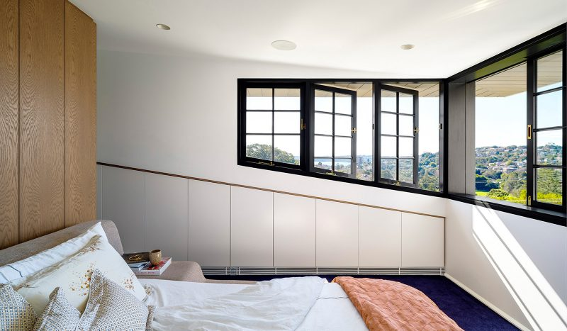 Luigi Rosselli Architects | Interiors Woollahra Terrace house master bedroom, timber casement windows, panoramic sydney harbour views