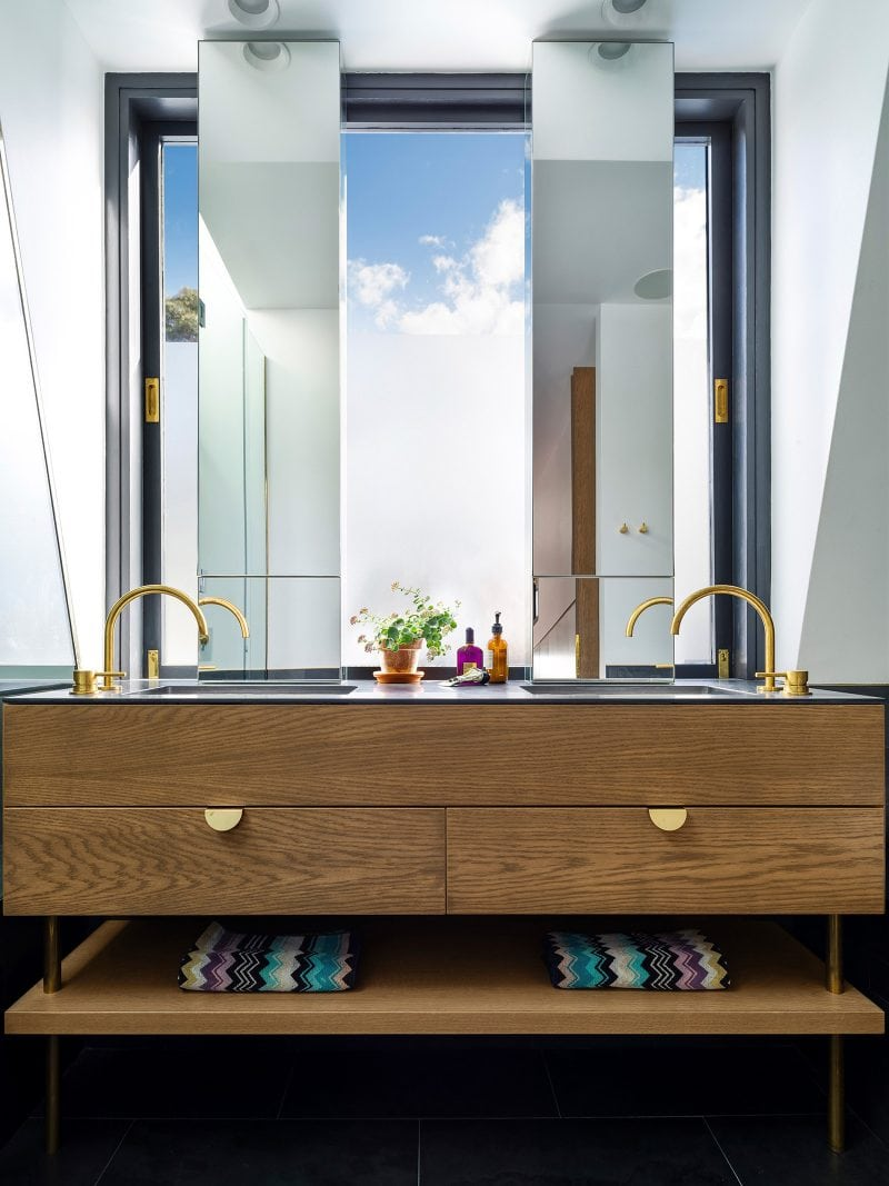 American oak vanity with brass taps