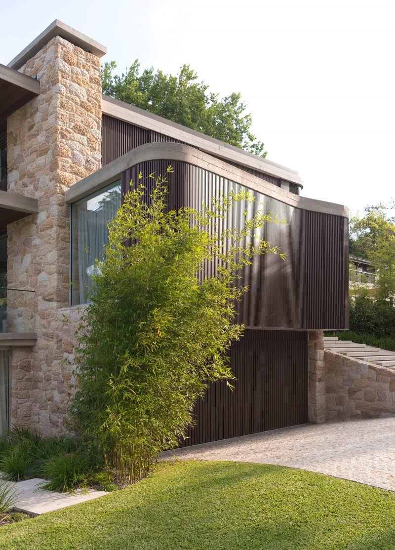Luigi Rosselli, Stone, Stone Cladding, Stone Wall, Timber Garage Door, Driveway, Timber Shutters