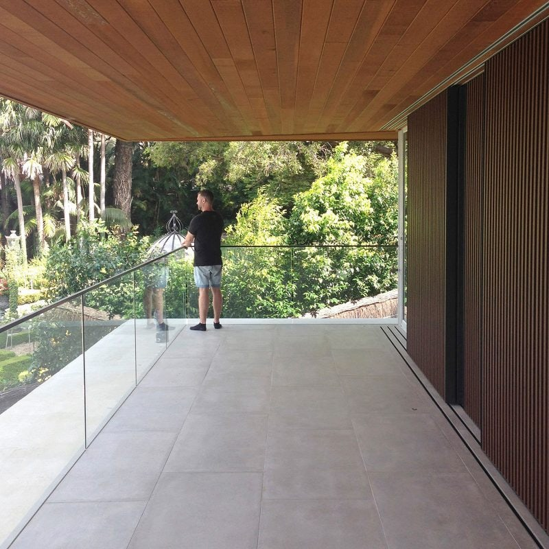 Luigi Rosselli, Frameless Glass, Terrace, Timber Ceiling, Sliding Timber Screens