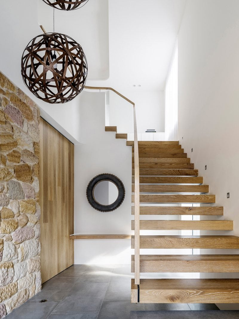 Luigi Rosselli, Floating Timber Stair, Stone, Stone Cladding