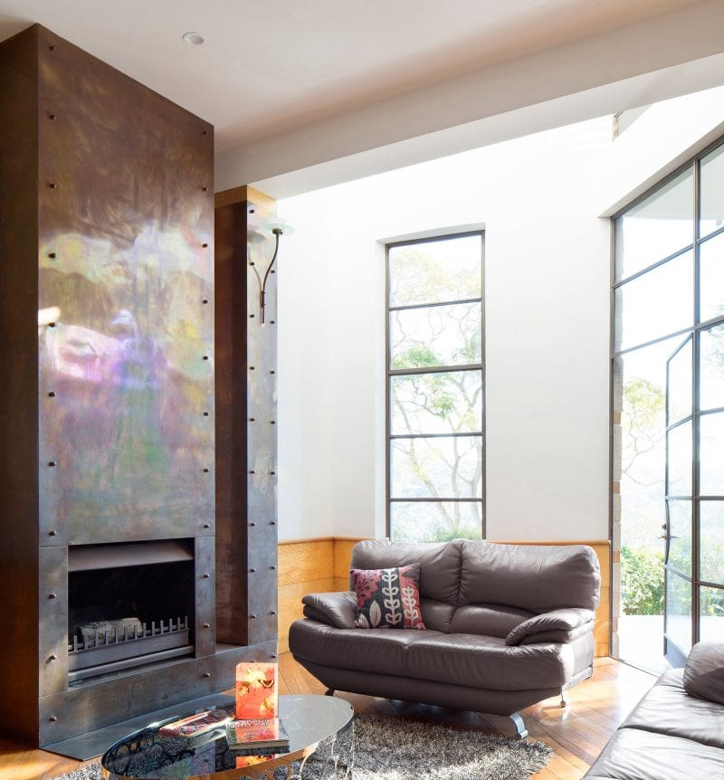 Luigi Rosselli, Living Room, Open Fireplace Clad in Copper, Tarnished Copper, Thin Steel Windows