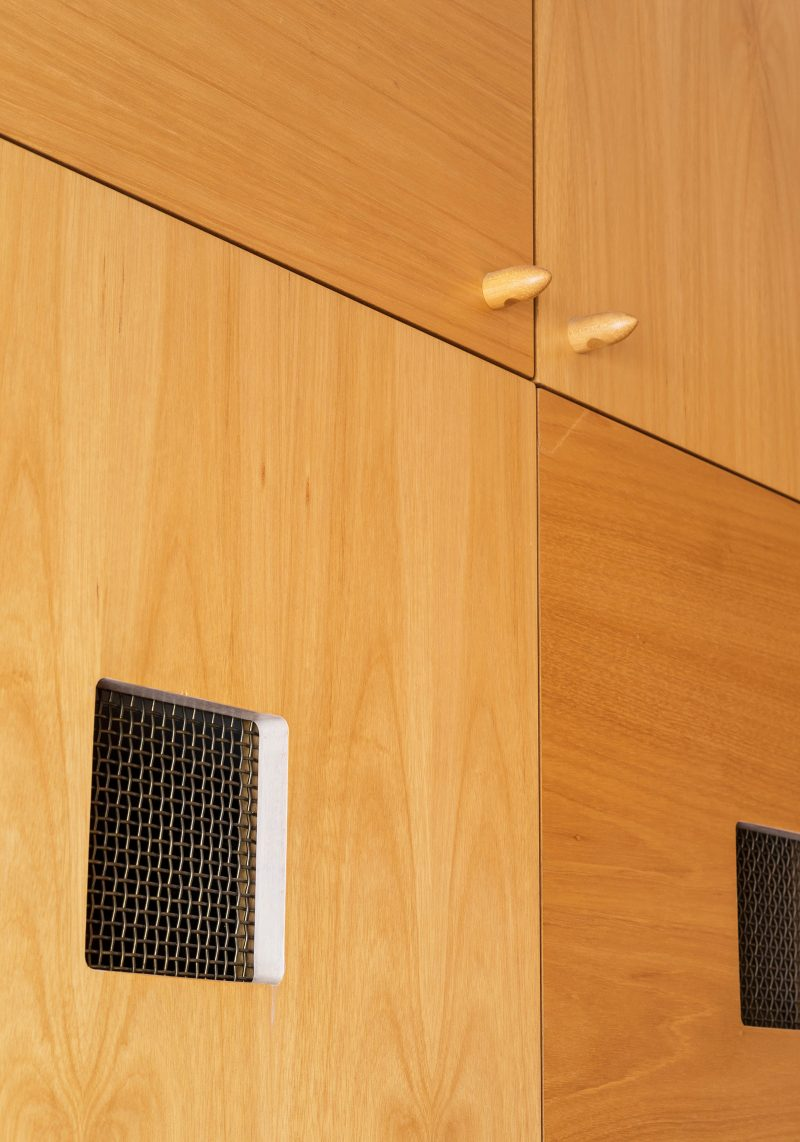 Luigi Rosselli, Joinery Wardobe, Custom Door Handle Detail, Brass Mesh Ventilation Screen