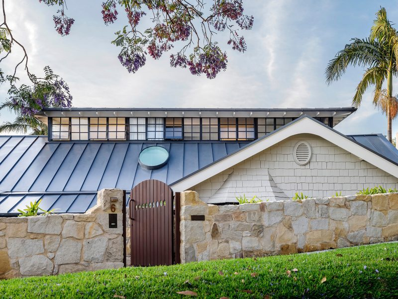 Luigi Rosselli Architects   Bellevue Hill Californian Bungalow roof renovation sandstone fence, elliptical skylight steel windows