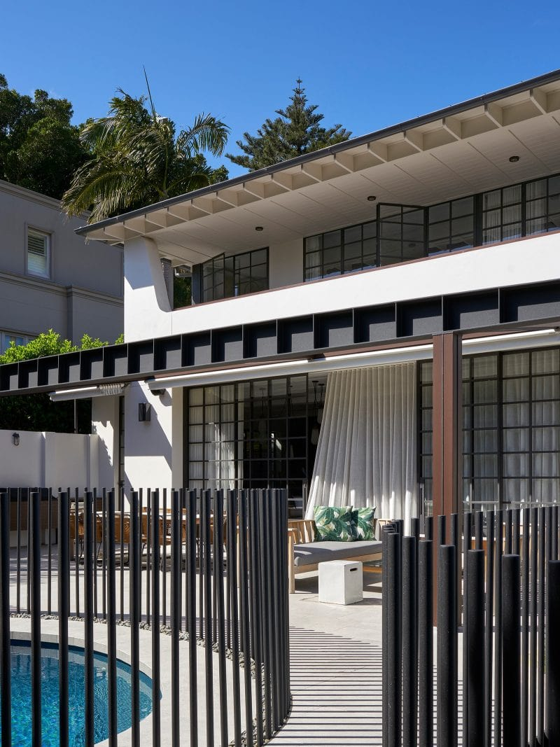 Luigi Rosselli Architects | Bellevue Hill Californian Bungalow renovation pool terrace, steel beam pergola, steel windows sheer curtains