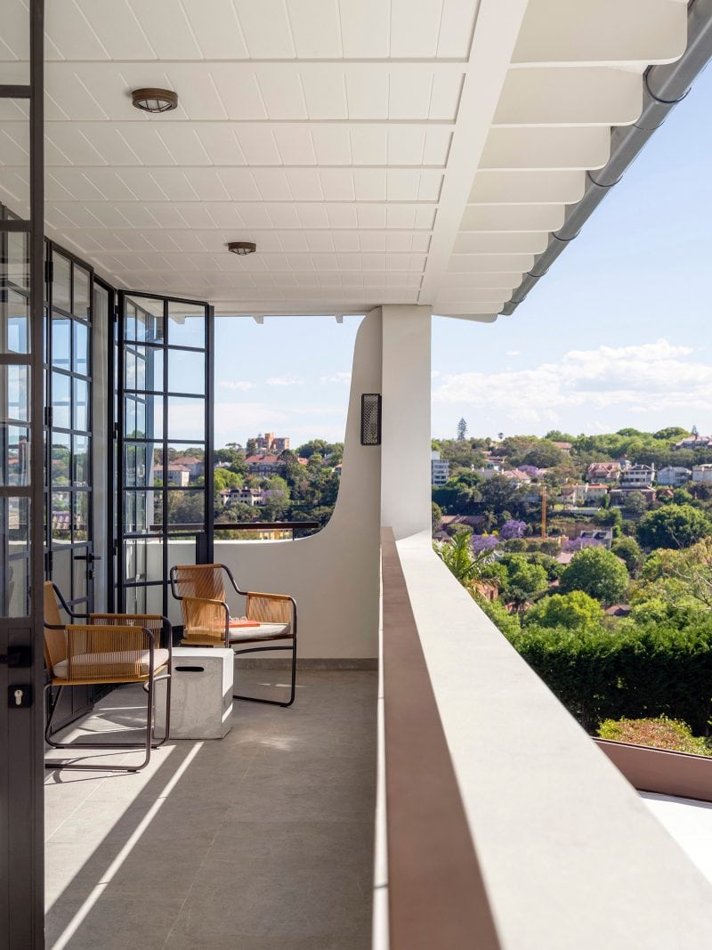 Luigi Rosselli Architects | Bellevue Hill Californian Bungalow renovation balcony, steel french doors, chairs, exposed rafters, views