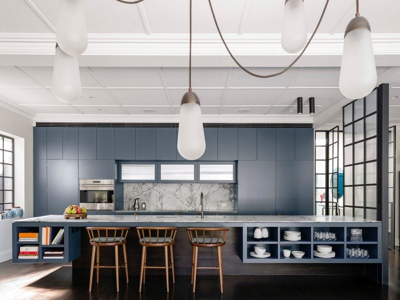 Luigi Rosselli Architects | Interior navy blue kitchen island bench, marble benchtop, steel doors, pendant lighting