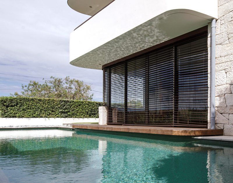 Luigi Rosselli, Swimming Pool, Timber Shutters, Concrete, Rendered Brick