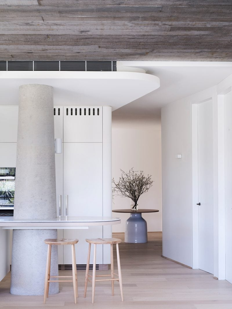Luigi Rosselli Architects | The Triplex Apartments | Kitchen Benchtop Concrete Column Detail