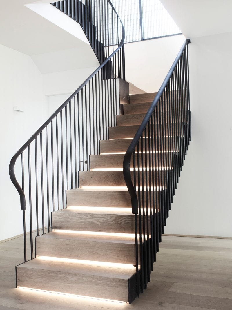 Luigi Rosselli, Timber Stair, Steel Balustrade, LED strip light stair