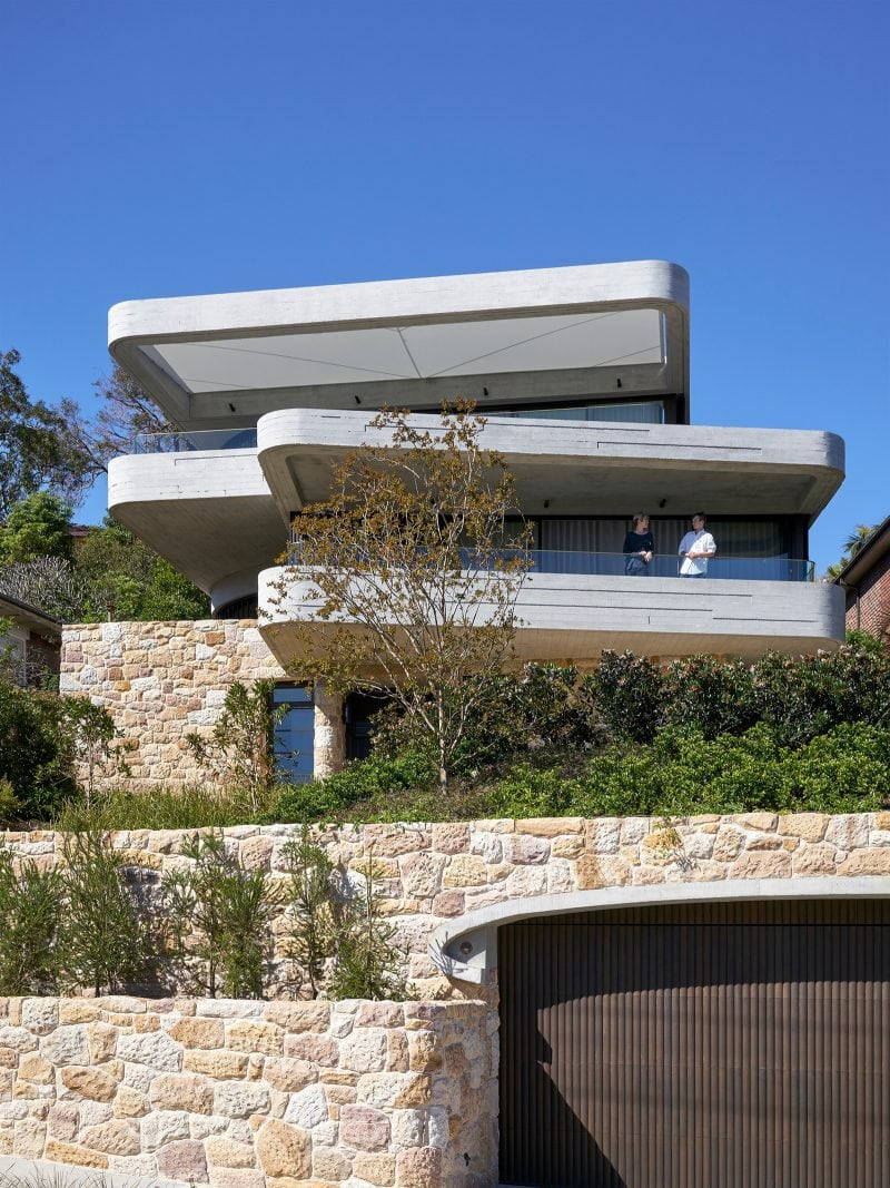 Luigi Rosselli, Concrete, Sandstone, Garden, Mosman, timber garage door