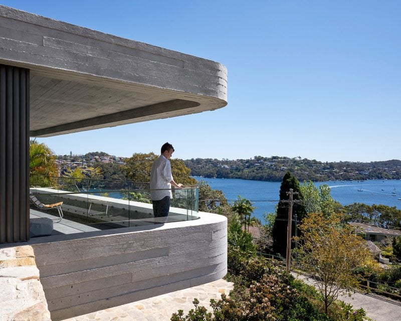 Luigi Rosselli, off-form Concrete, Mosman, terrace, balcony, cantilevered, outdoor living