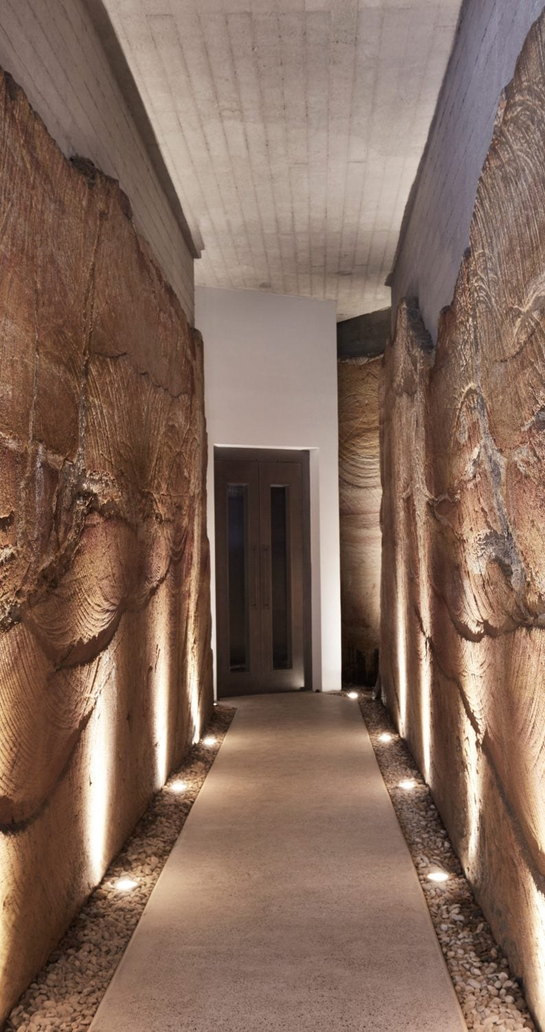 Luigi Rosselli, sandstone tunnel, lift, underground architecture, exposed concrete