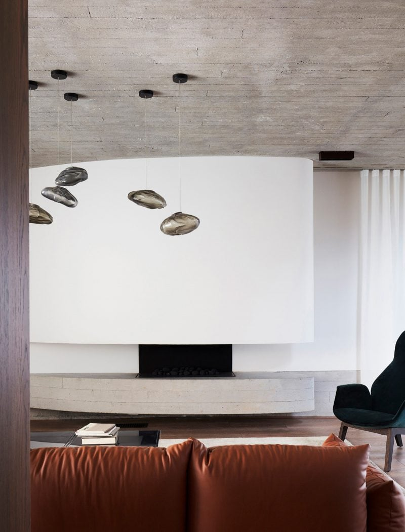Luigi Rosselli Architects, interior, Mosman, living room, brass, fireplace, concrete