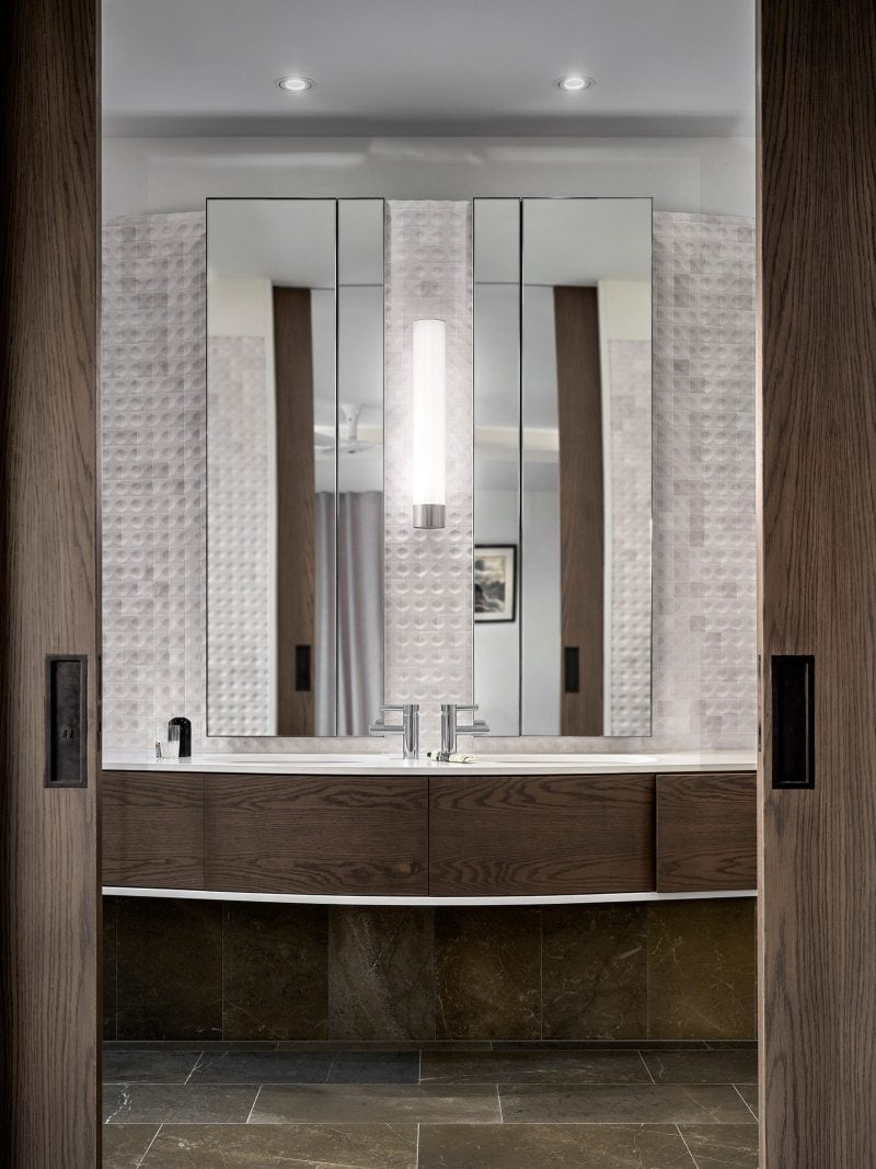 luigi rosselli architects the books house | Bathroom vanity with dual basin and mirrors and marble mosiac tiles