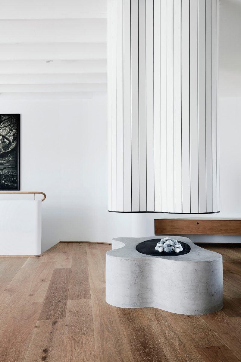 Roscharch Blotch freeform fireplace inspired by Alvar Alto open living Luigi Rosselli designed tamas tee house.