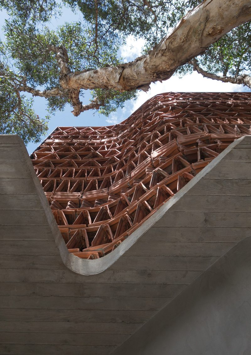 Luigi Rosselli Architects The Beehive studio terracotta brise-soleil facade with concrete awning, Recycled Materials, Shadow Play, paperbark tree