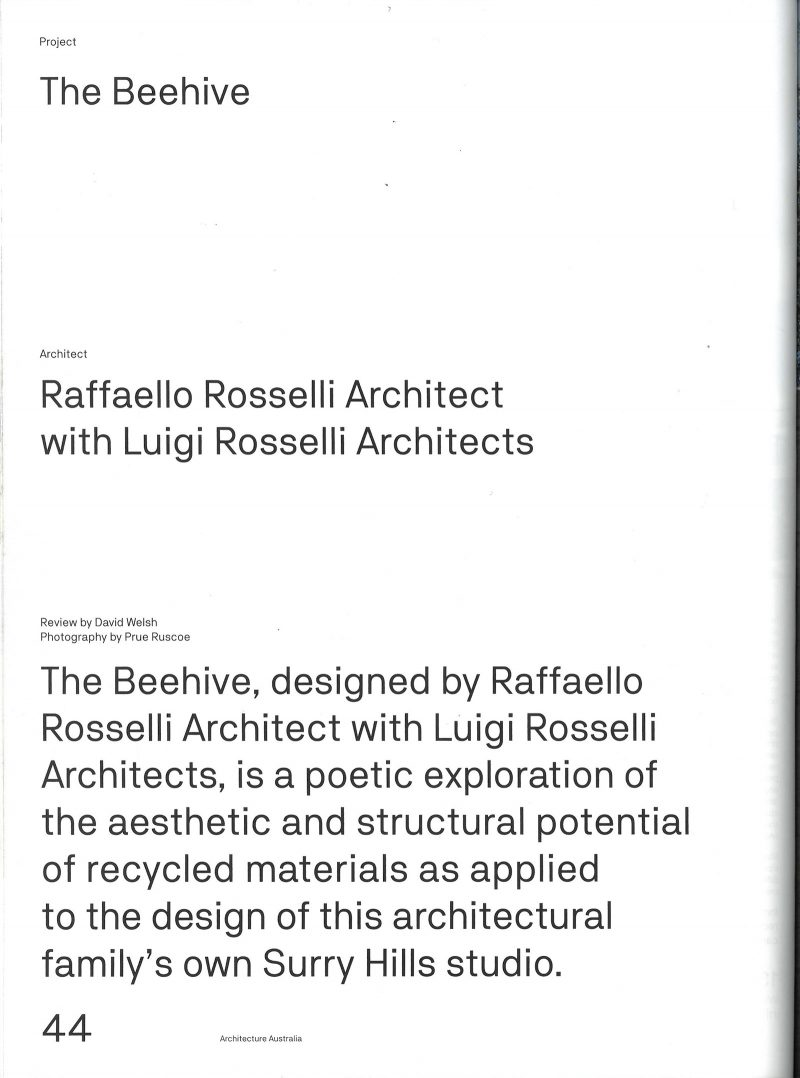 Luigi Rosselli Architects | The Beehive | Architecture Australia