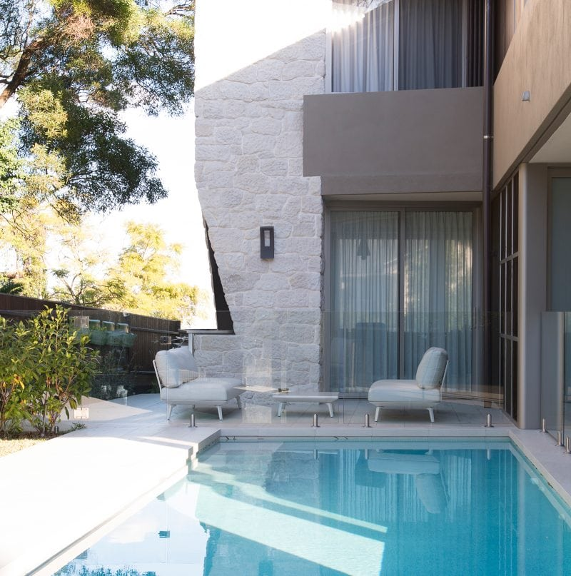 Luigi Rosselli, Swimming Pool, Swimming Pool, BBQ, Stone, Stone Wall, Integrated BBQ, Frameless Glass, Frameless Glass Pool Fencing, Rendered Walls, Sheer Curtains
