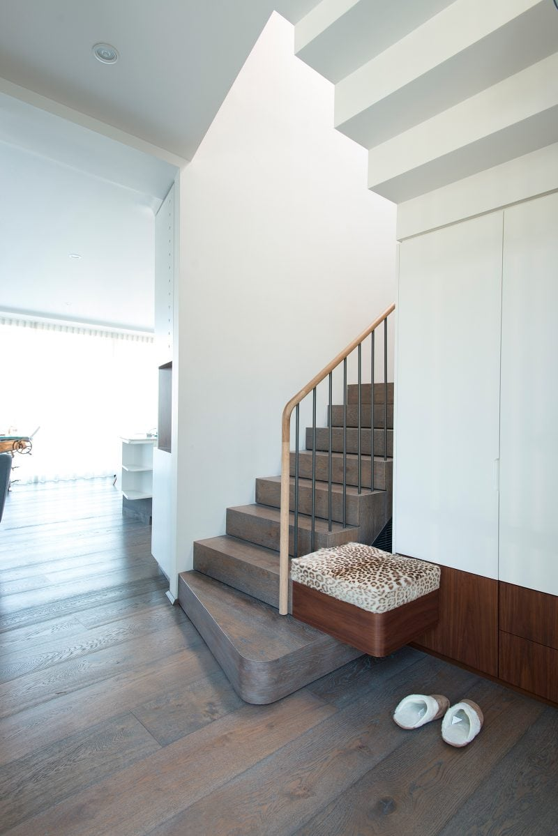 Luigi Rosselli Architects, Staircase, Leather Print, Bench Seat, Timber Handrail, Curved Tread, Timber Floorboards