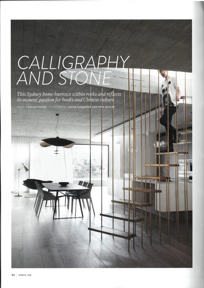 Luigi Rosselli, Lightweight Steel Stair, Brass Stair, Living Room, Concrete, Concrete Ceiling