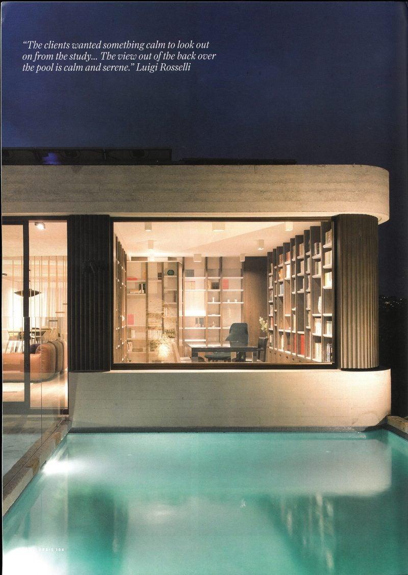 Luigi Rosselli, Swimming Pool, Timber Louvres, Library, Bookshelf