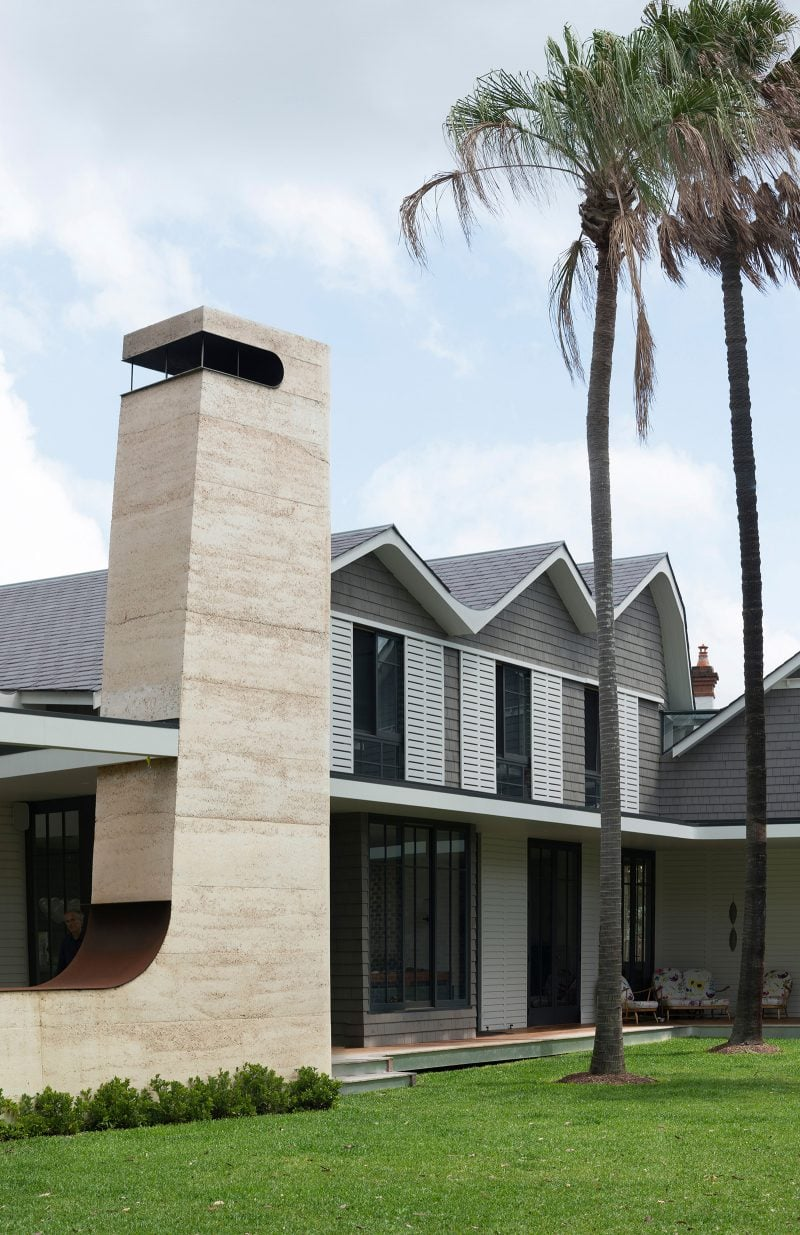 Luigi Rosselli Architect, Front Lawn, Rammed Earth Walls, Rammed Earth Chimney, Palm Tree, Timber Shutters, Shingle Roof