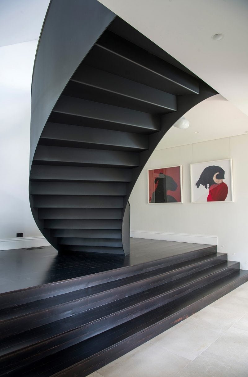Luigi Rosselli Architects, Curved Stair, Timber floorboards, Limestone Tiles, Steel Stair
