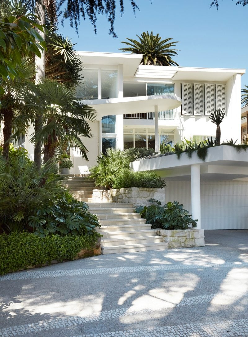 Luigi Rosselli Architects, Cantilever Awning, Cobblestone Driveway, Paved Stairs, Concrete, White Timber Shutters, Garden Bed Design, Palm Trees, Sydney architecture, Woollahra architecture