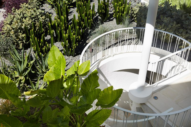 Luigi Rosselli Architects, Curved Stair, Curved Exterior Stair, Cactus Garden