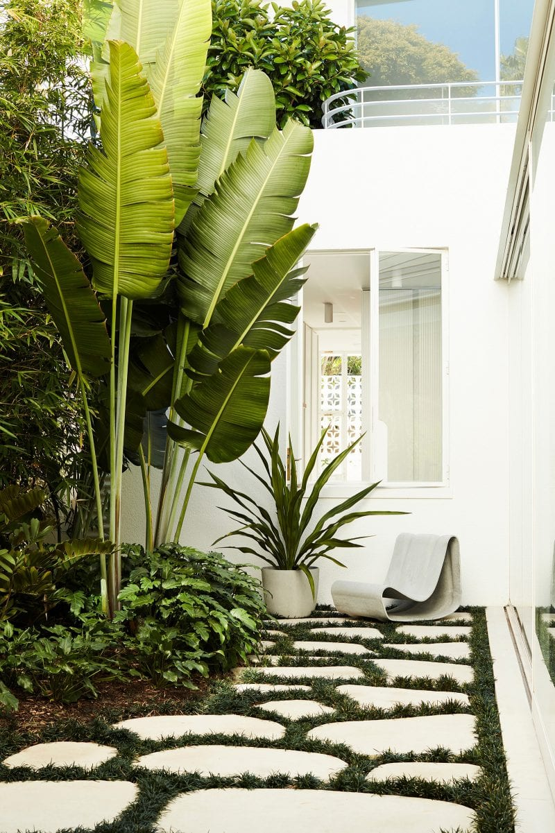 Luigi Rosselli Architects, White Windows, Stepping Stone with Grass, Lush Landscape, Garden Design