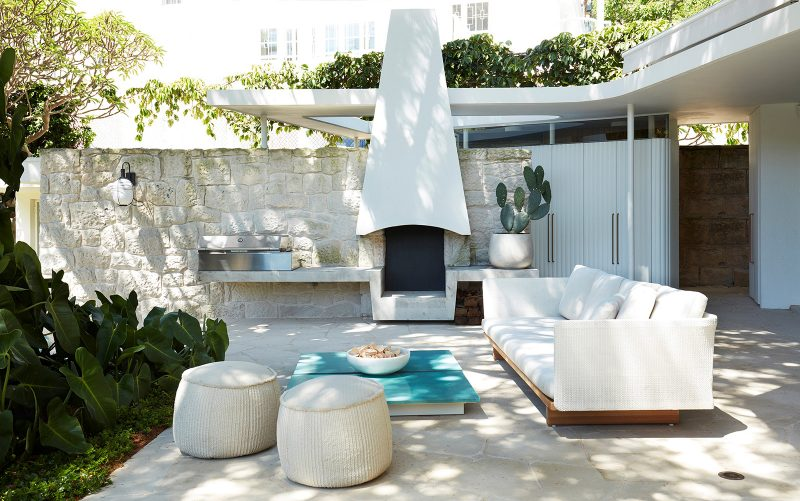 Luigi Rosselli Architects, Sandstone, Stone, White Joinery, Fireplace, Outdoor Fireplace, BBQ, Outdoor Built In BBQ, Concrete, Outdoor Seating