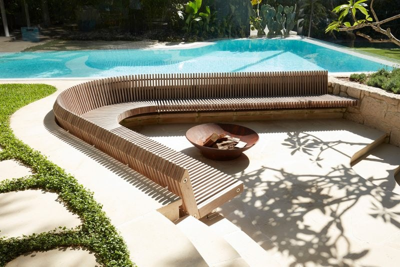 Luigi Rosselli, Timber Built In Bench Seat, Swimming Pool, Paving, Stepping Stone, Outdoor Fire Pit, Stone