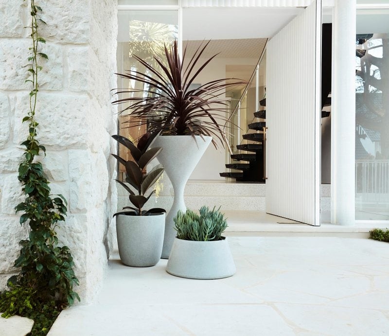 Luigi Rosselli Architects, Stone Cladding, Entry Pivot Door, Entry Area, Entry Landscape Design, Brass Door Hardware