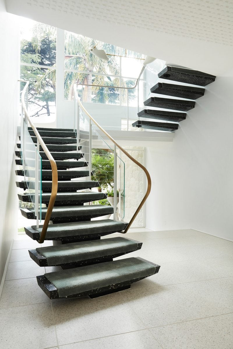 Luigi Rosselli Architects, Carpet Stairs, Curved Stairs, Brass Handrail, Curved Glass, Marble Stairs