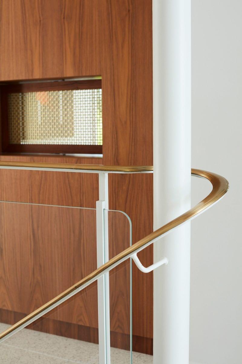 Luigi Rosselli Architects, Brass Handrail, Curved Handrail, Handrail Detail, Brass Mesh, Timber Veneer Joinery
