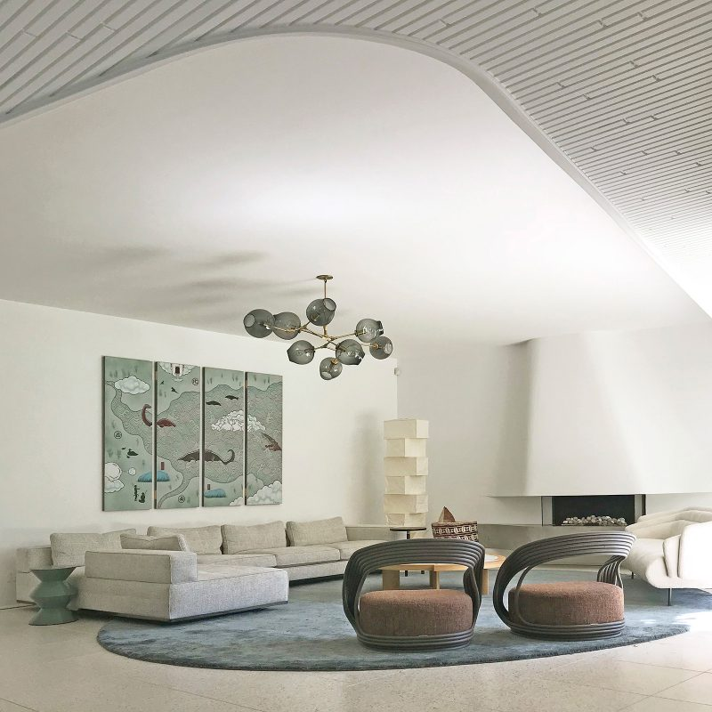 Luigi Rosselli Architects, Curved Fireplace, Concrete Fireplace, Curved Interior, White Timber Ceiling