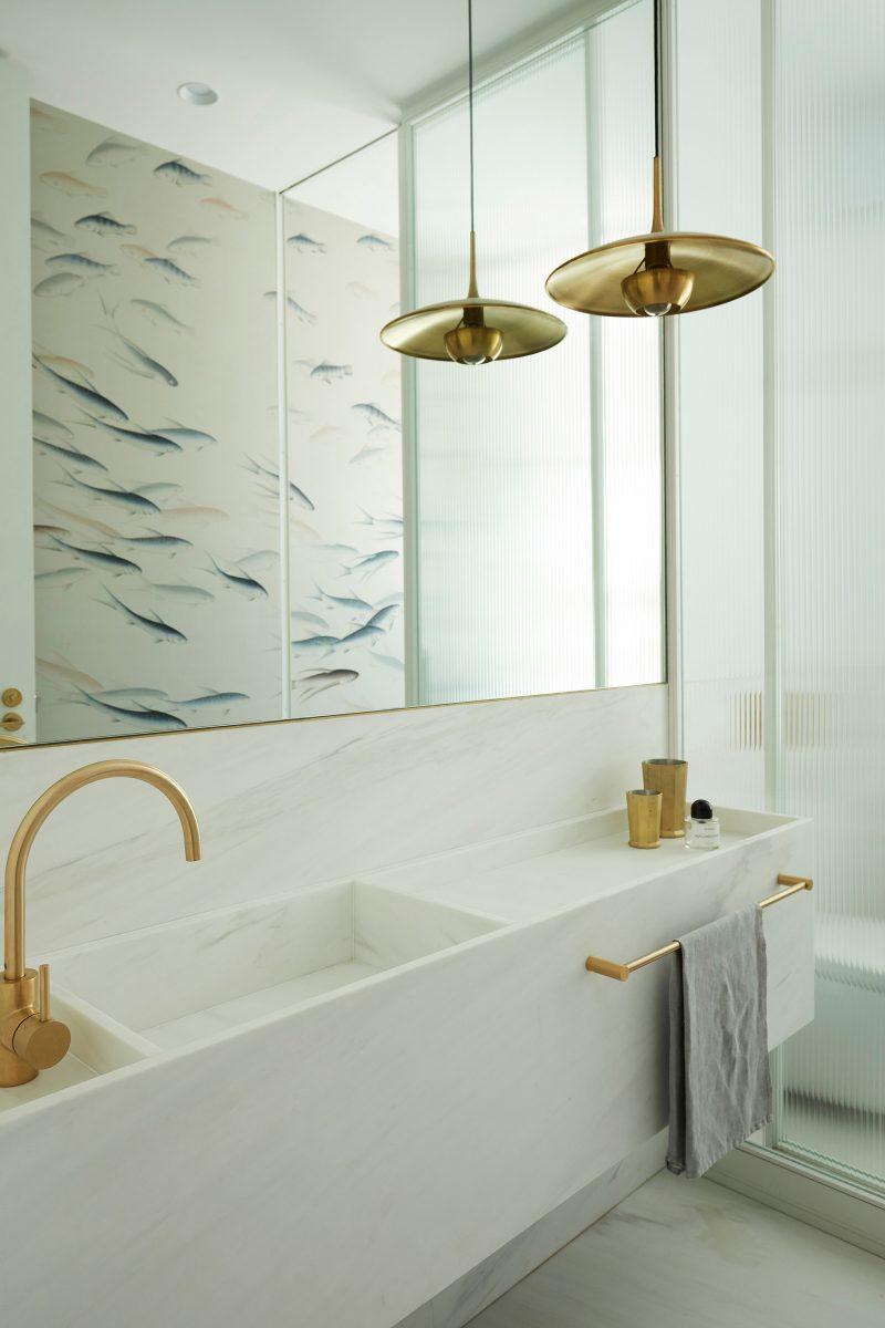 Luigi Rosselli Architects, Brass Tapware, Marble Vanity, Brass Pendant Lighting, Marble Splashback