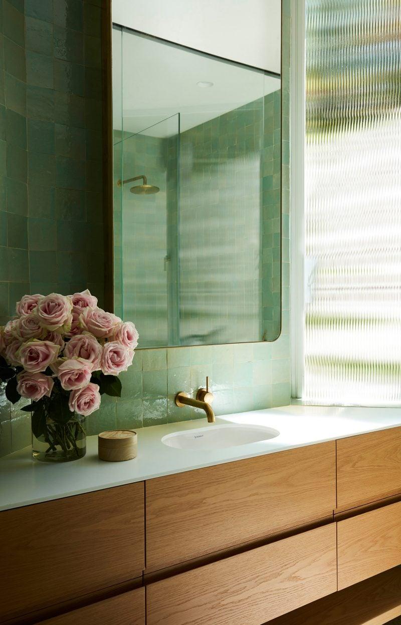 Luigi Rosselli Architects, Brass Tapware, Timber Veneer Vanity, Green Tiled Bathroom, Narrowline Glass