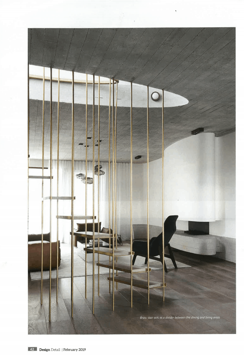 Luigi Rosselli Architects, Lightweight Stair, Steel Stair, Brass Stair, Floating Stair, Concrete Ceiling, Concrete Fireplace, Curved Stair